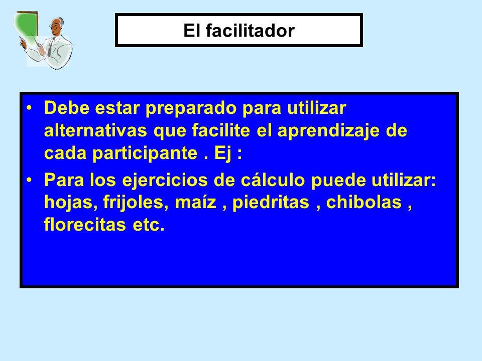 El facilitador Debe estar preparado para utilizar alternativas que facilite el aprendizaje de cada participante . Ej :