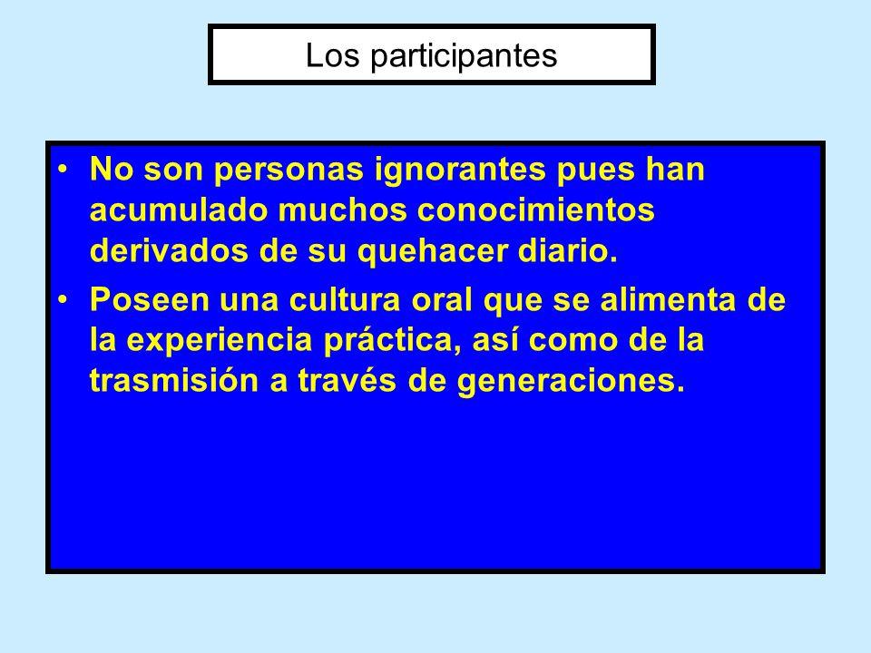 Los participantesNo son personas ignorantes pues han acumulado muchos conocimientos derivados de su quehacer diario.