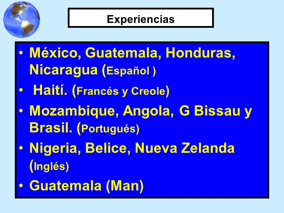 México, Guatemala, Honduras, Nicaragua (Español )