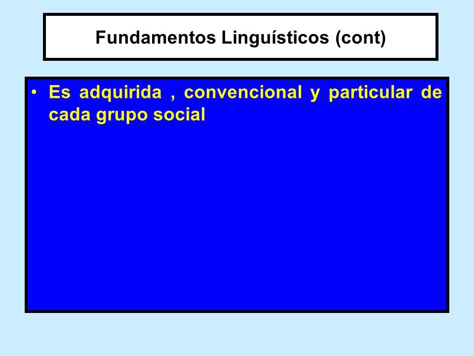 Fundamentos Linguísticos (cont)