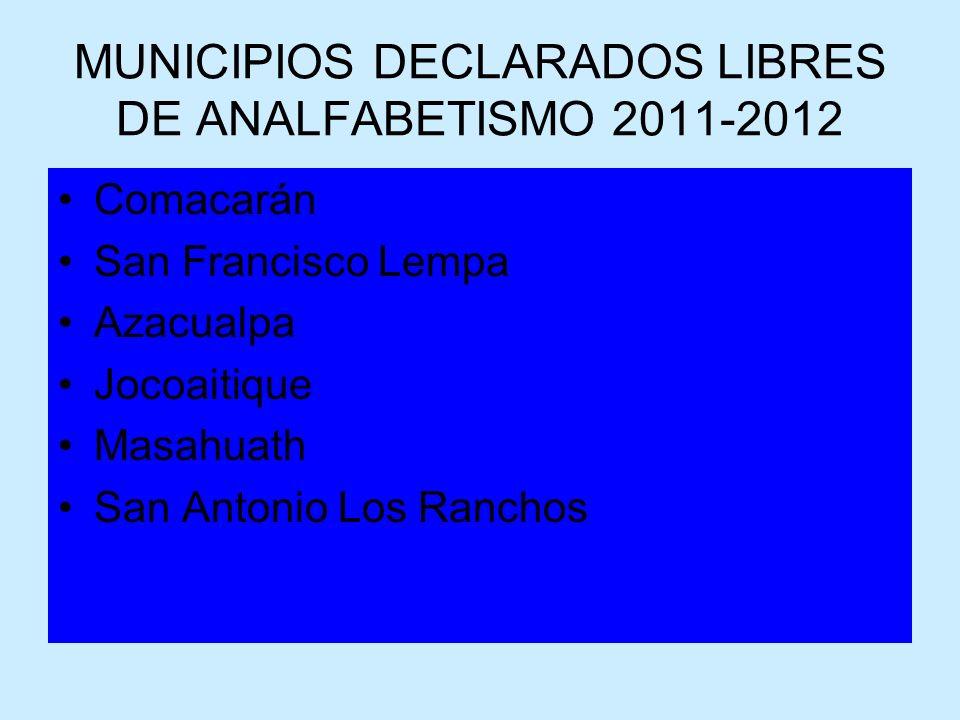 MUNICIPIOS DECLARADOS LIBRES DE ANALFABETISMO 2011-2012