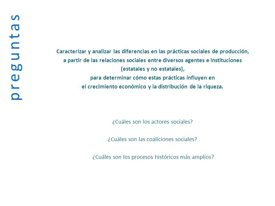 preguntasCaracterizar y analizar las diferencias en las prácticas sociales de producción,