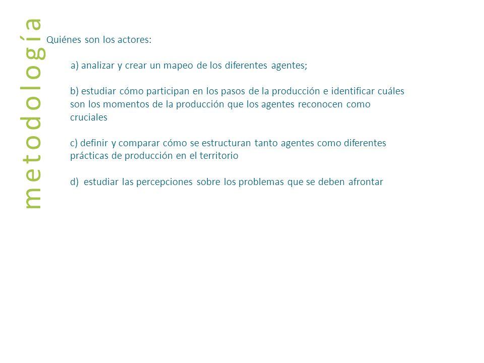 metodología Quiénes son los actores: