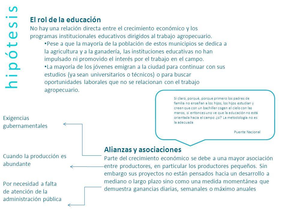 hipótesis El rol de la educación Alianzas y asociaciones