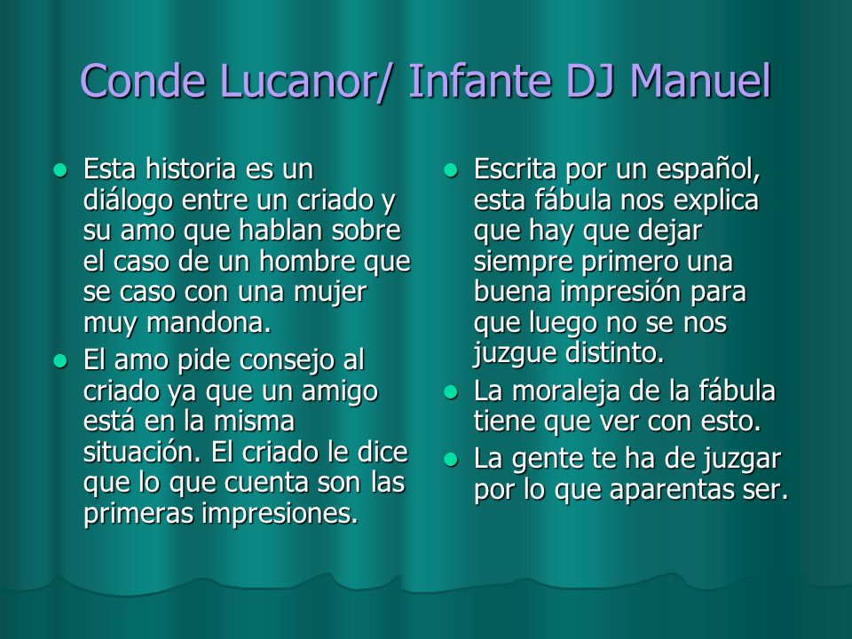 Conde Lucanor/ Infante DJ Manuel