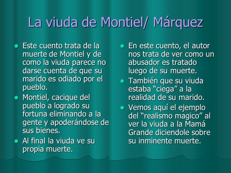 La viuda de Montiel/ Márquez
