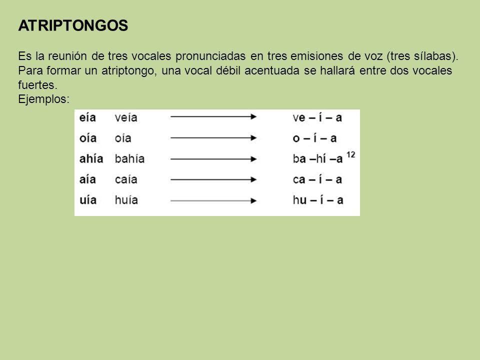 ATRIPTONGOS Es la reunión de tres vocales pronunciadas en tres emisiones de voz (tres sílabas).