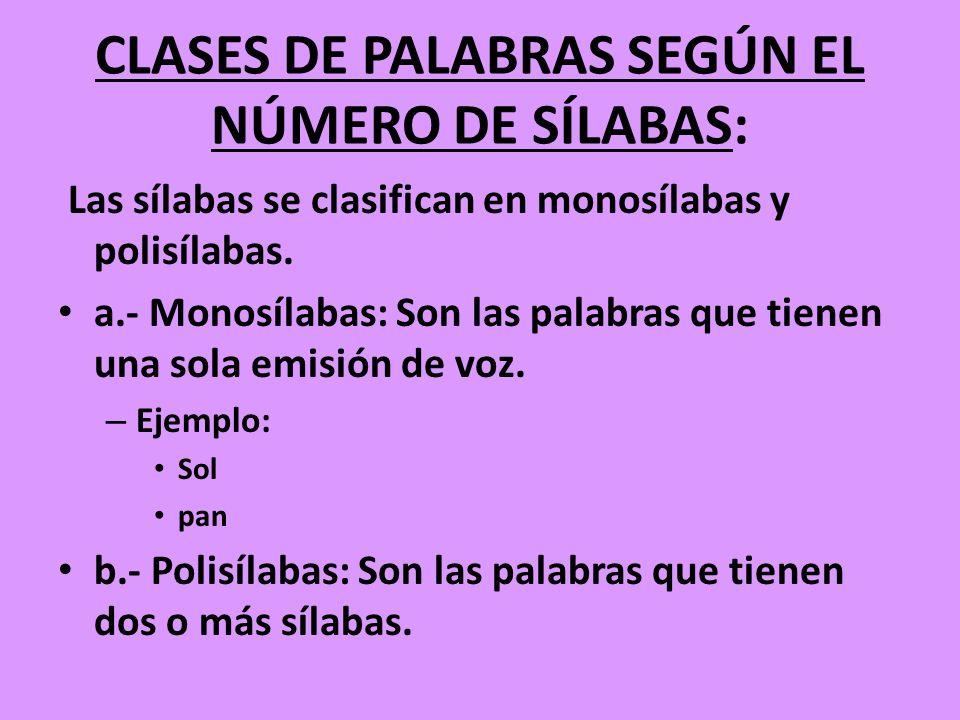 CLASES DE PALABRAS SEGÚN EL NÚMERO DE SÍLABAS: