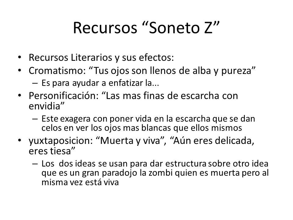 Recursos Soneto Z Recursos Literarios y sus efectos: