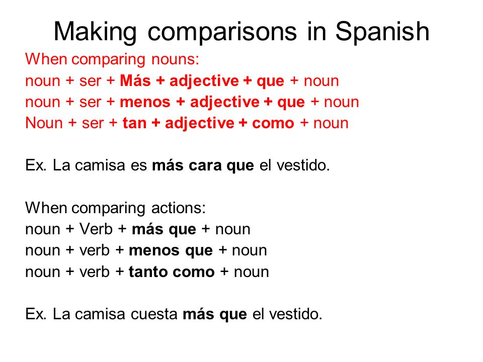 Making comparisons in Spanish