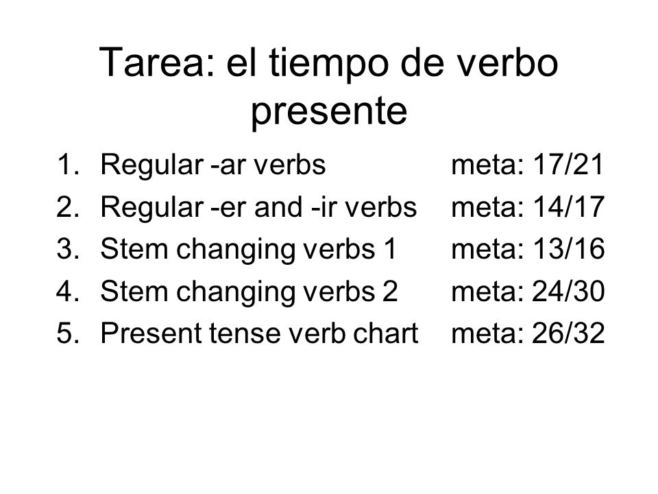 Tarea: el tiempo de verbo presente