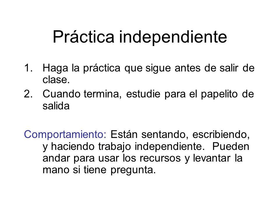 Práctica independiente