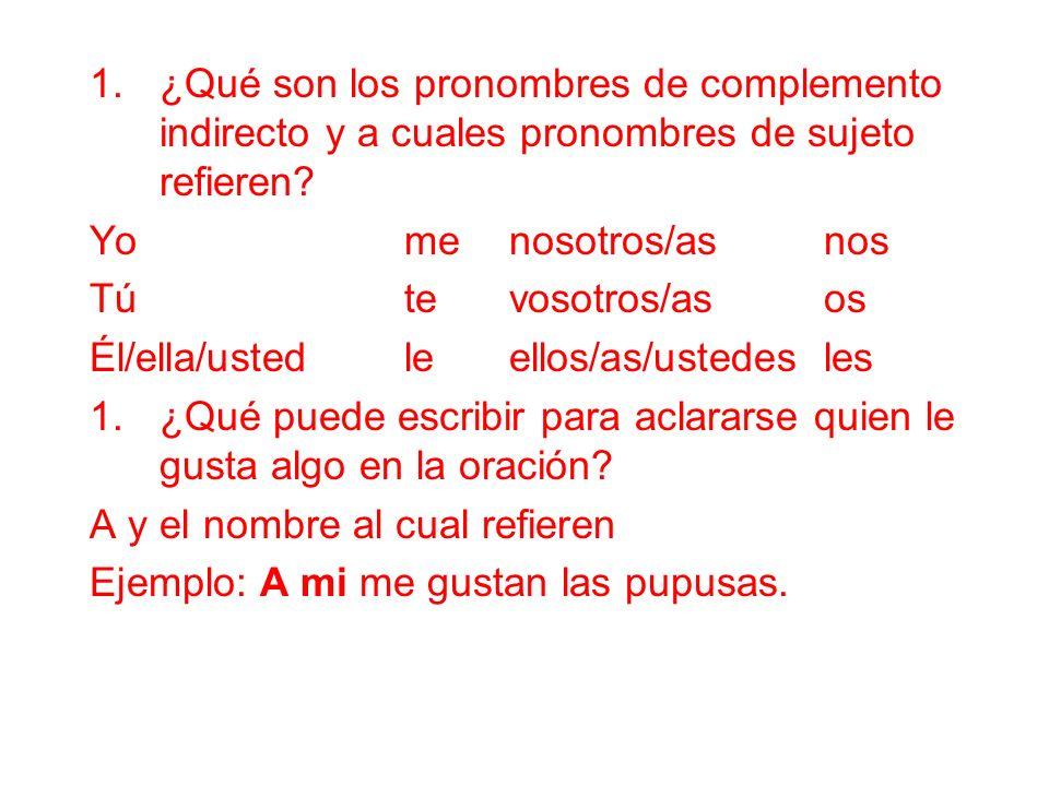 ¿Qué son los pronombres de complemento indirecto y a cuales pronombres de sujeto refieren
