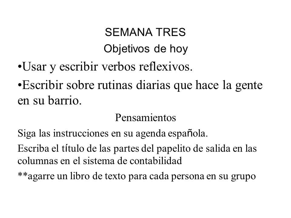 Usar y escribir verbos reflexivos.