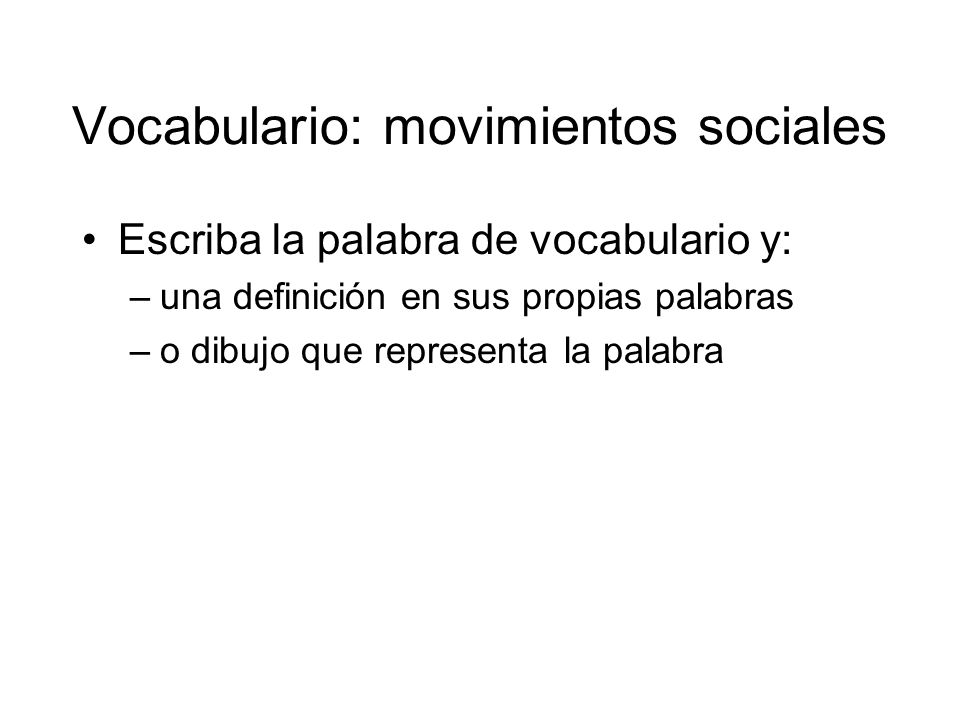 Vocabulario: movimientos sociales