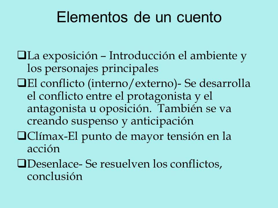 Elementos de un cuento La exposición – Introducción el ambiente y los personajes principales.