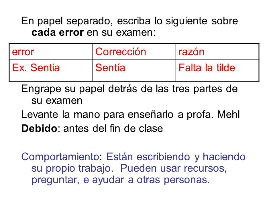 En papel separado, escriba lo siguiente sobre cada error en su examen: