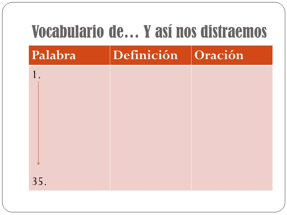 Vocabulario de… Y así nos distraemos