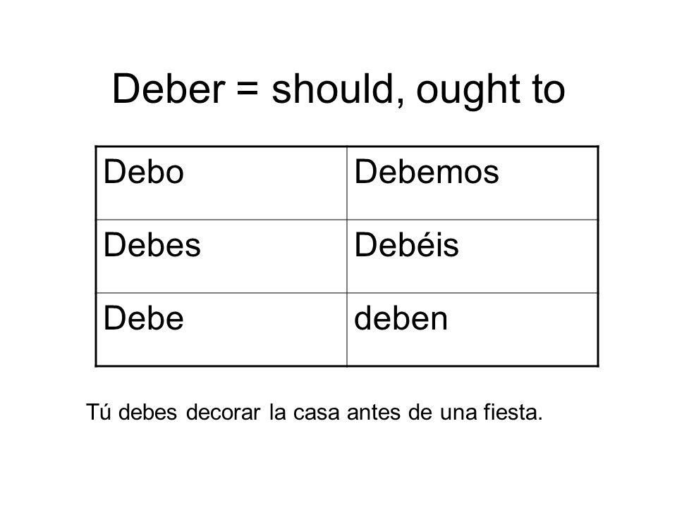 Deber = should, ought to Debo Debemos Debes Debéis Debe deben