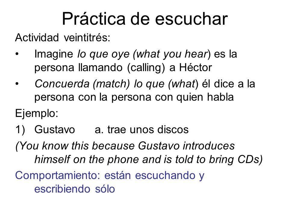 Práctica de escuchar Actividad veintitrés: