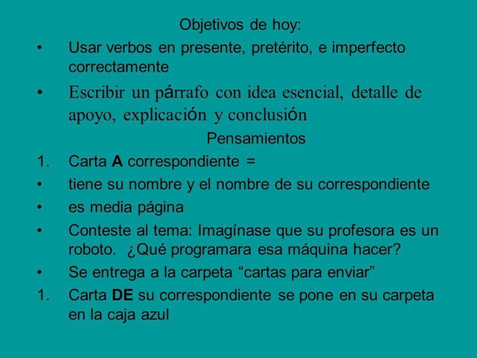 Objetivos de hoy: Usar verbos en presente, pretérito, e imperfecto correctamente.