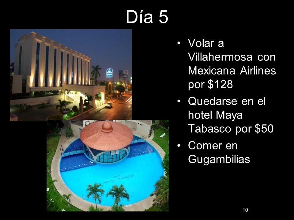 Día 5 Volar a Villahermosa con Mexicana Airlines por $128