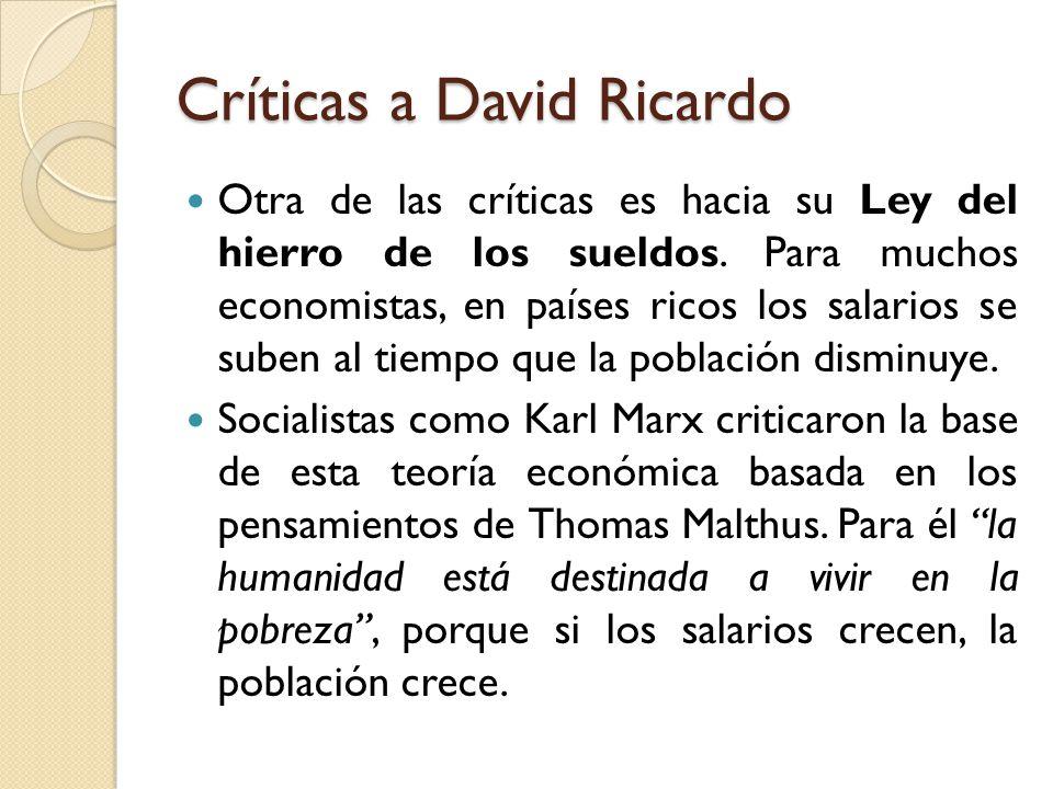 Críticas a David Ricardo