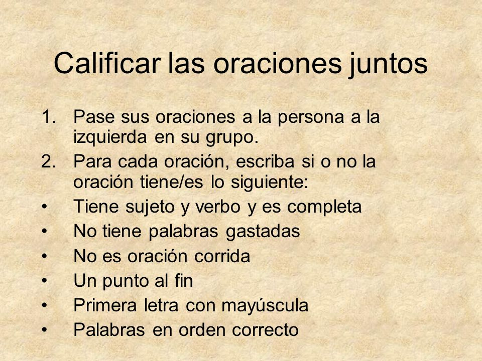 Calificar las oraciones juntos