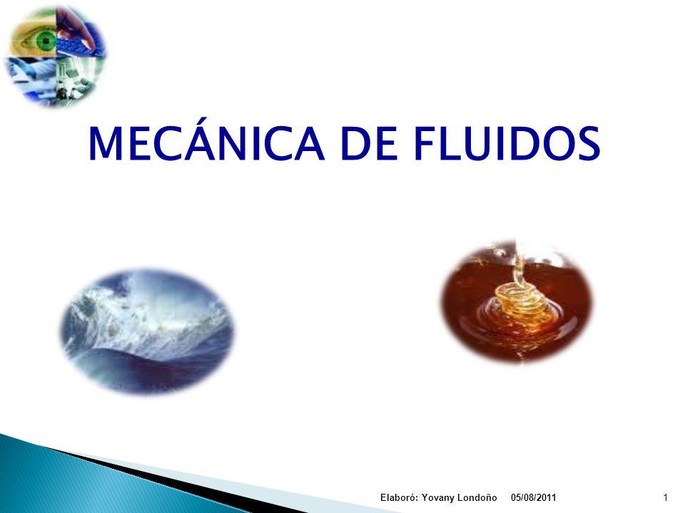 MECÁNICA DE FLUIDOS Elaboró: Yovany Londoño 05/08/2011