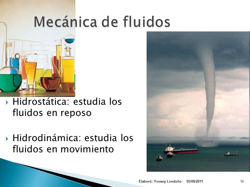 Mecánica de fluidos Hidrostática: estudia los fluidos en reposo
