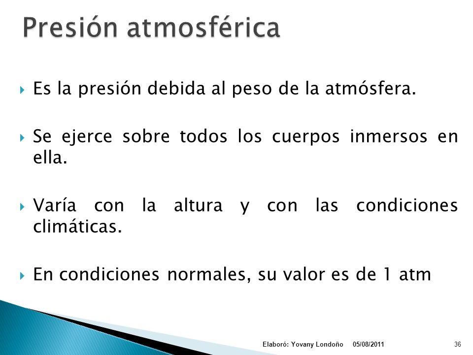 Presión atmosférica Es la presión debida al peso de la atmósfera.
