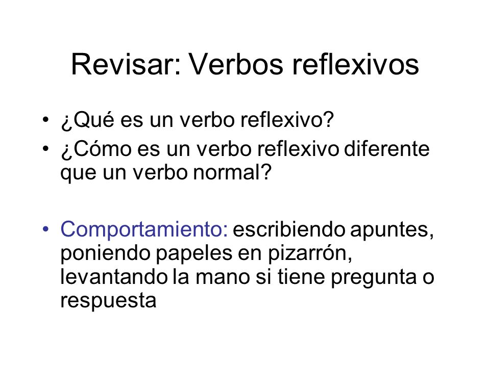 Revisar: Verbos reflexivos