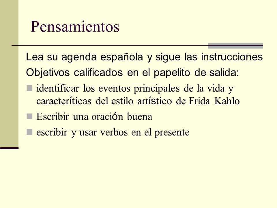 Pensamientos Lea su agenda española y sigue las instrucciones