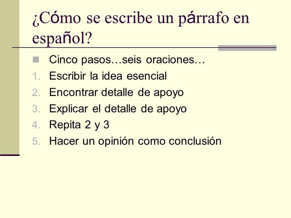 ¿Cómo se escribe un párrafo en español