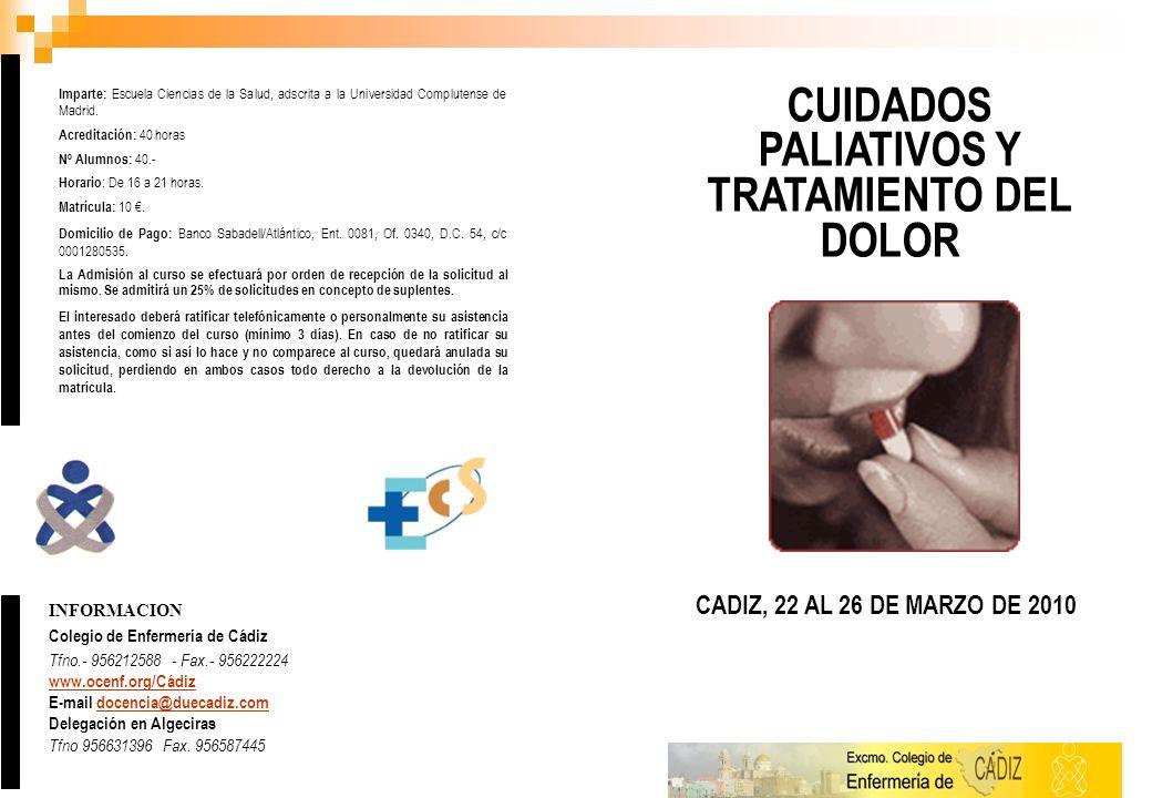 CUIDADOS PALIATIVOS Y TRATAMIENTO DEL DOLOR