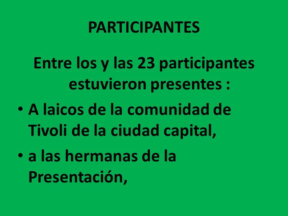 Entre los y las 23 participantes estuvieron presentes :