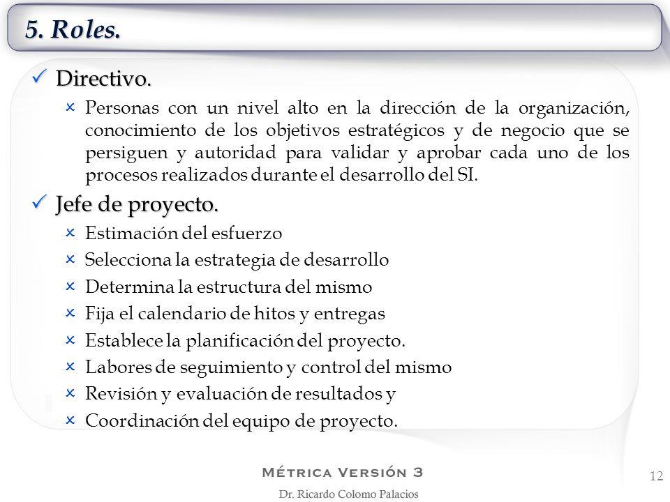 5. Roles. Directivo. Jefe de proyecto.