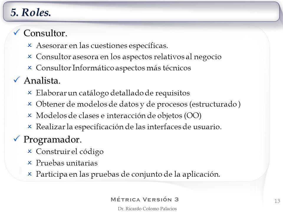 5. Roles. Consultor. Analista. Programador.