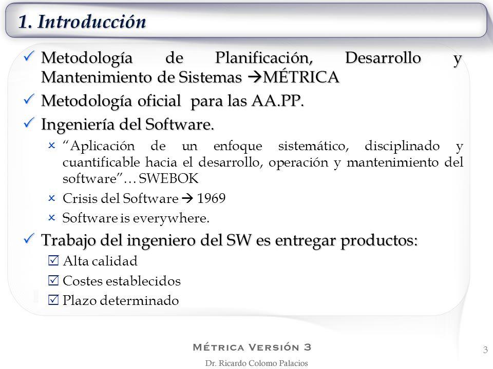 1. Introducción Metodología de Planificación, Desarrollo y Mantenimiento de Sistemas MÉTRICA. Metodología oficial para las AA.PP.