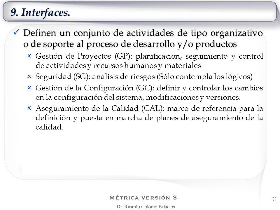 9. Interfaces. Definen un conjunto de actividades de tipo organizativo o de soporte al proceso de desarrollo y/o productos.