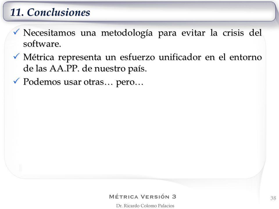 11. ConclusionesNecesitamos una metodología para evitar la crisis del software.