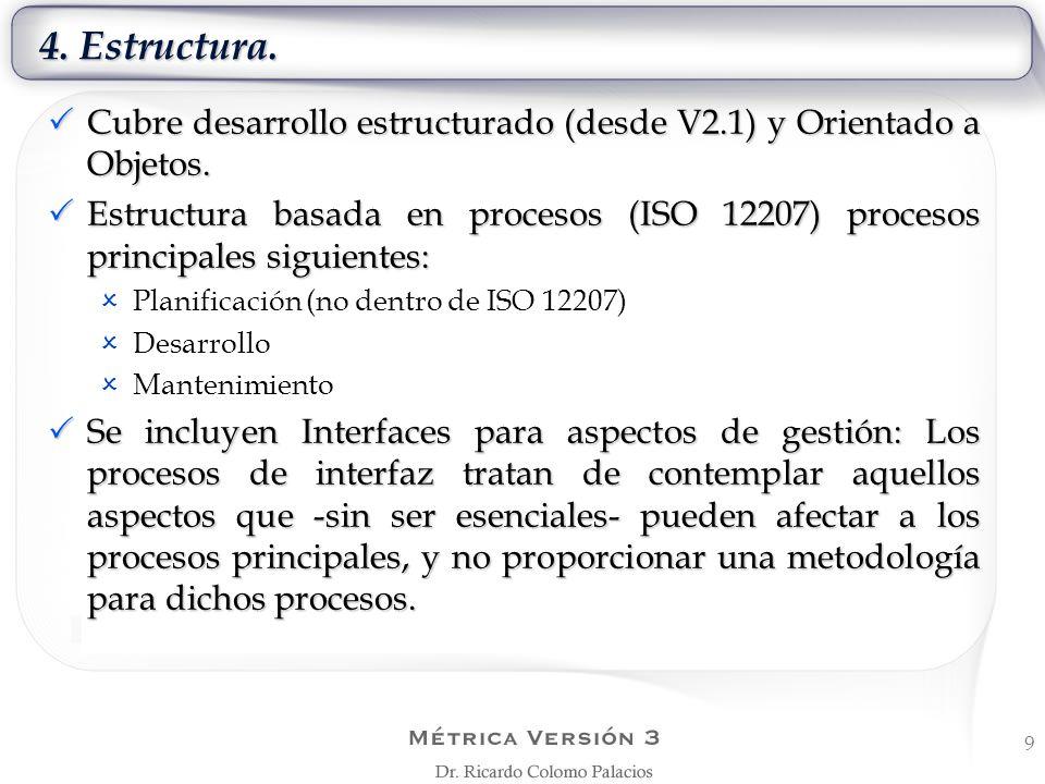 4. Estructura. Cubre desarrollo estructurado (desde V2.1) y Orientado a Objetos.