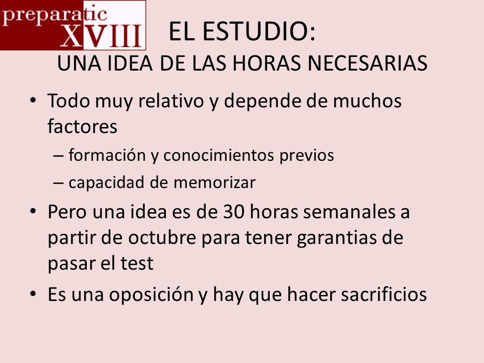 EL ESTUDIO: UNA IDEA DE LAS HORAS NECESARIAS