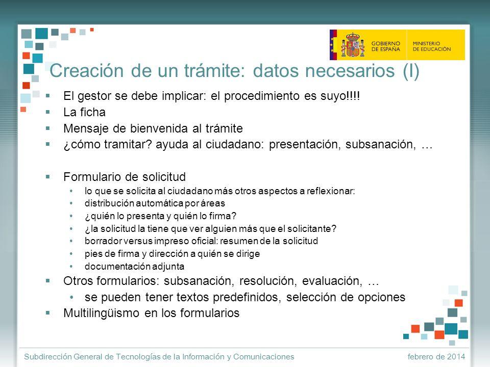 Creación de un trámite: datos necesarios (I)
