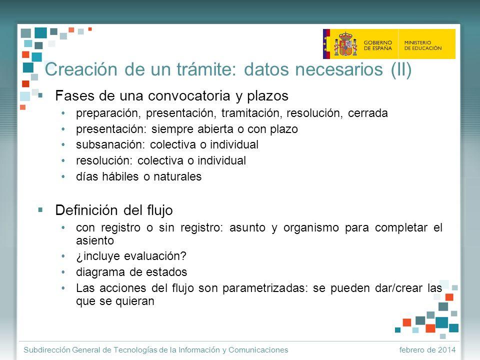 Creación de un trámite: datos necesarios (II)