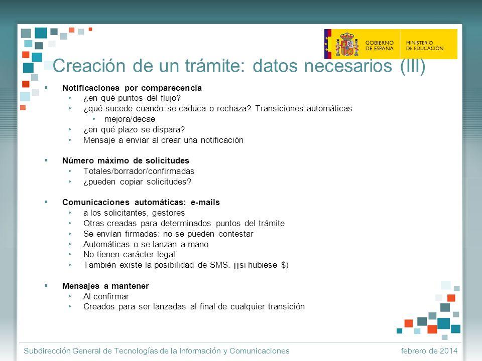 Creación de un trámite: datos necesarios (III)