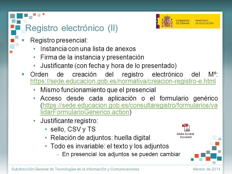 Registro electrónico (II)