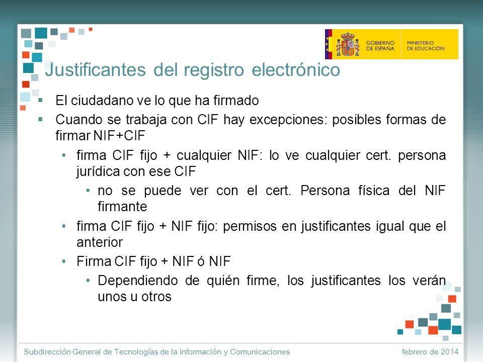 Justificantes del registro electrónico