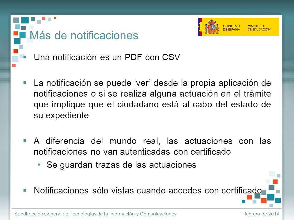 Más de notificaciones Una notificación es un PDF con CSV