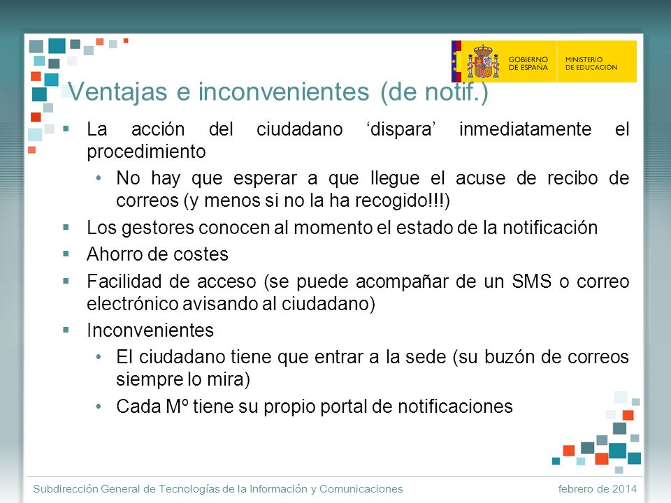 Ventajas e inconvenientes (de notif.)
